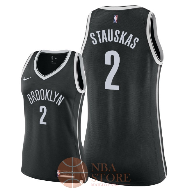 Classic Maillot NBA Femme Brooklyn Nets NO.2 Nik Stauskas Noir Icon 2018