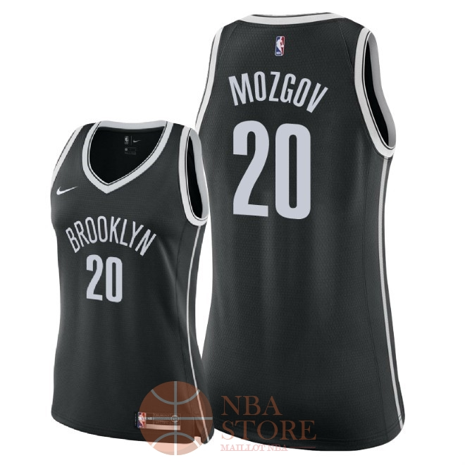 Classic Maillot NBA Femme Brooklyn Nets NO.20 Timofey Mozgov Noir Icon 2018