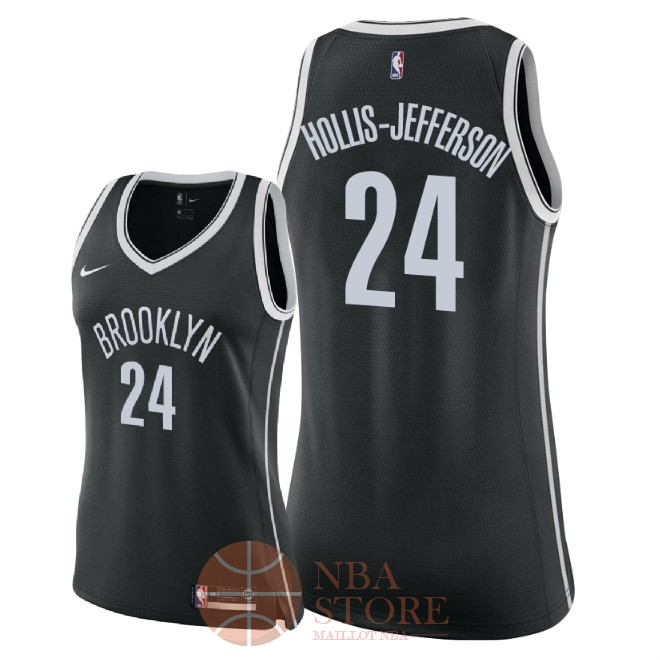 Classic Maillot NBA Femme Brooklyn Nets NO.24 Rondae Hollis Jefferson Noir Icon 2018