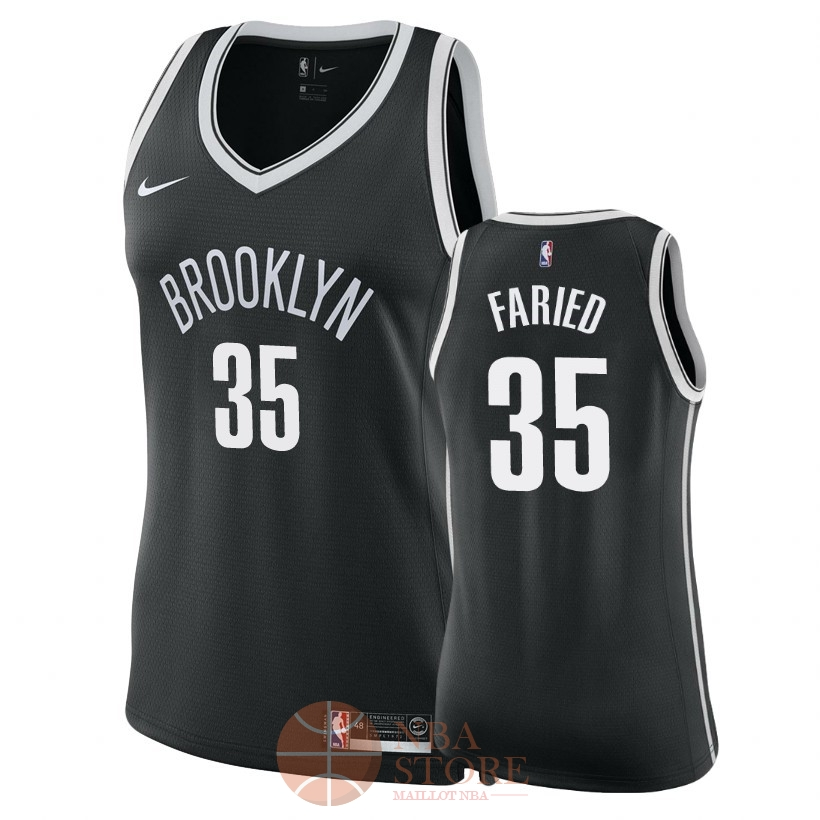 Classic Maillot NBA Femme Brooklyn Nets NO.35 Kenneth Faried Noir Icon 2018
