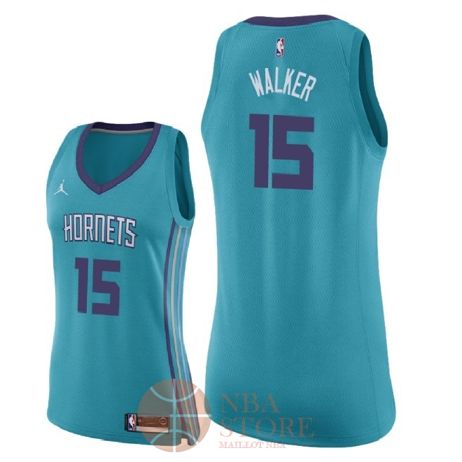 Classic Maillot NBA Femme Charlotte Hornets NO.15 Kemba Walker Vert Icon 2018