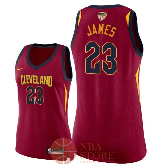Classic Maillot NBA Femme Cleveland Cavaliers 2018 Final Champions NO.23 LeBron James Rouge Icon Patch