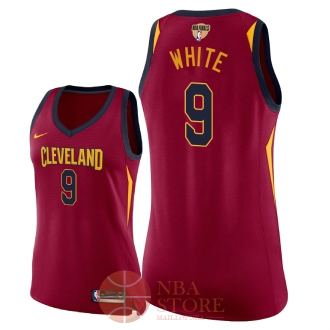Classic Maillot NBA Femme Cleveland Cavaliers 2018 Final Champions NO.9 Okaro White Rouge Icon Patch