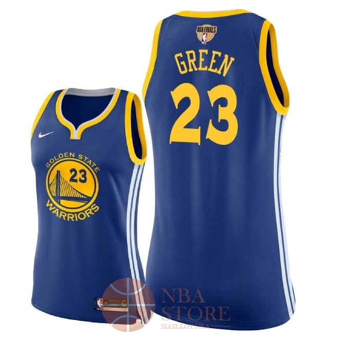 Classic Maillot NBA Femme Golden State Warriors 2018 Final Champions NO.23 Draymond Green Bleu Icon Patch