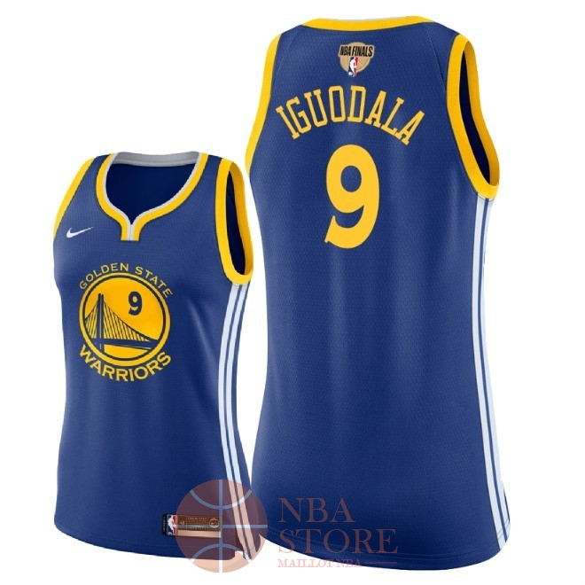 Classic Maillot NBA Femme Golden State Warriors 2018 Final Champions NO.9 Andre Iguodala Bleu Icon Patch