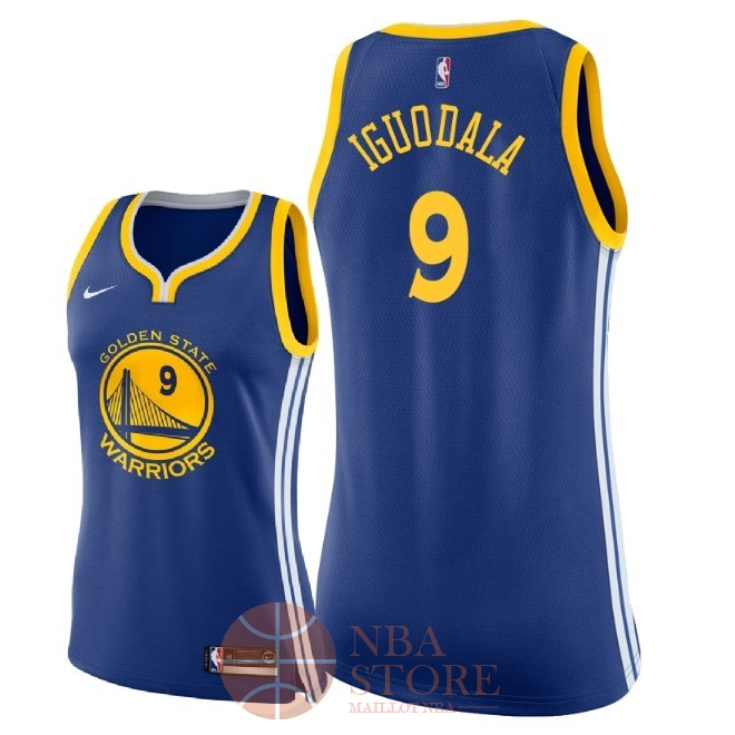 Classic Maillot NBA Femme Golden State Warriors NO.9 Andre Iguodala Bleu Icon 2018