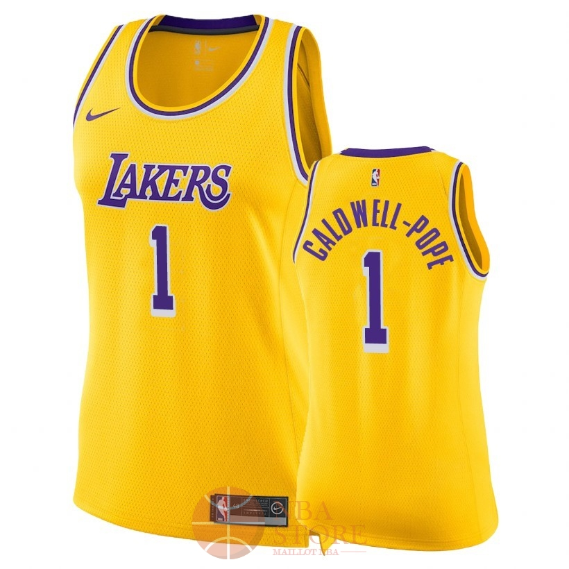 Classic Maillot NBA Femme Los Angeles Lakers NO.1 Kentavious Caldwell Pope Jaune Icon 2018-19