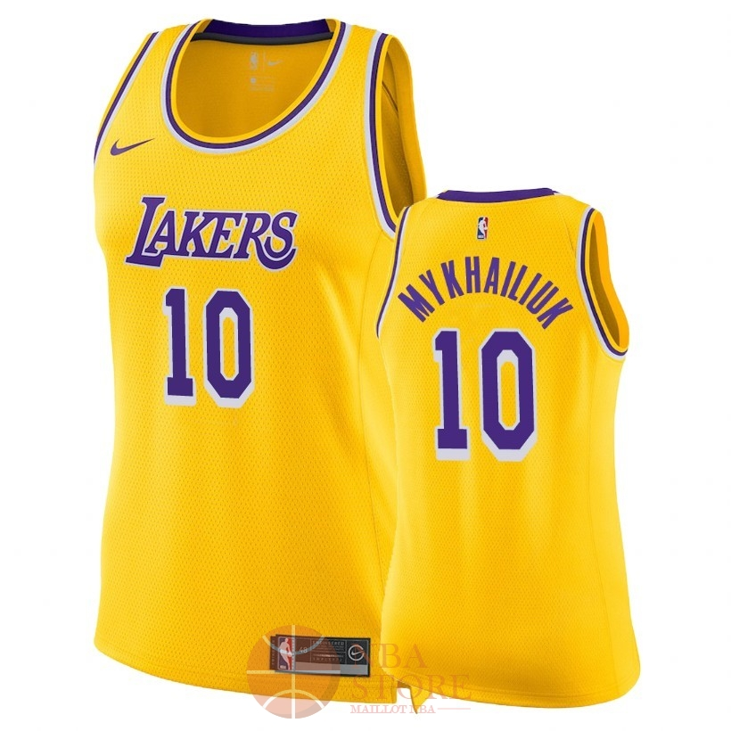 Classic Maillot NBA Femme Los Angeles Lakers NO.10 Sviatoslav Mykhailiuk Jaune Icon 2018-19