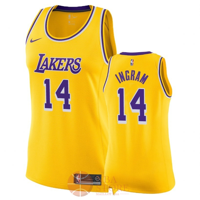Classic Maillot NBA Femme Los Angeles Lakers NO.14 Brandon Ingram Jaune Icon 2018-19