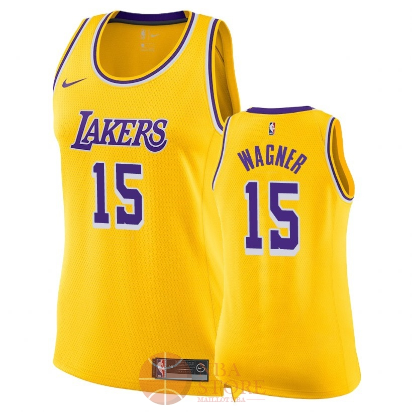 Classic Maillot NBA Femme Los Angeles Lakers NO.15 Moritz Wagner Jaune Icon 2018-19