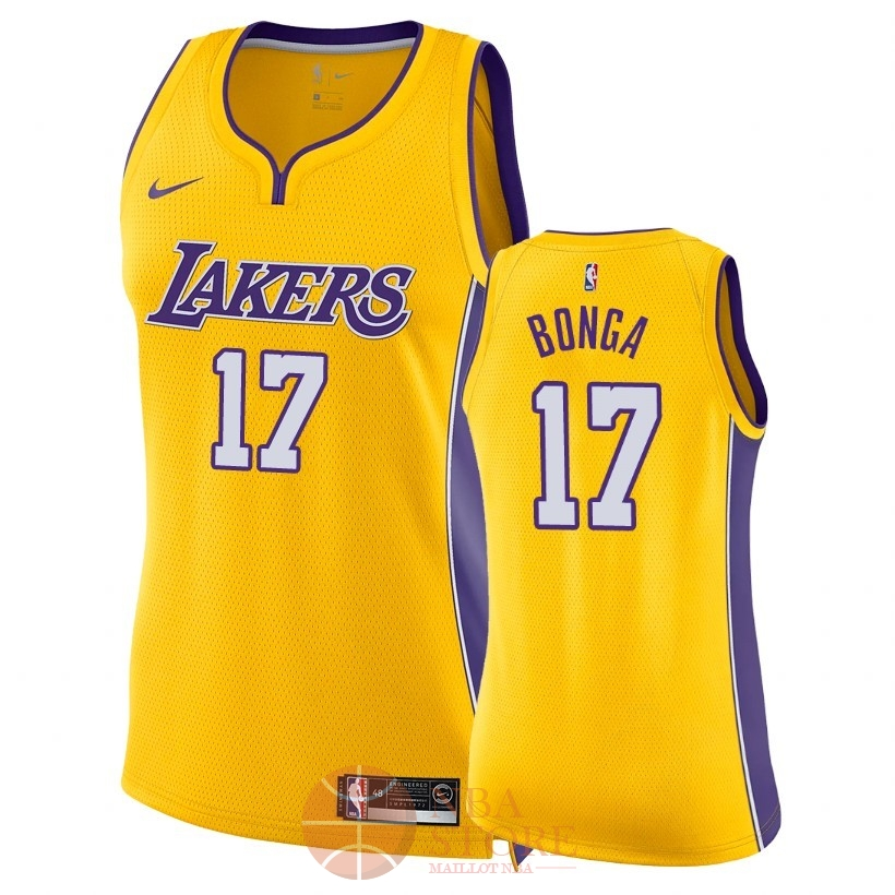 Classic Maillot NBA Femme Los Angeles Lakers NO.17 Isaac Bonga Jaune Icon 2018