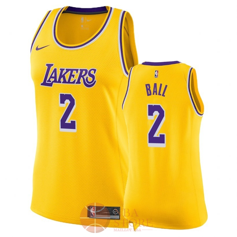 Classic Maillot NBA Femme Los Angeles Lakers NO.2 Lonzo Ball Jaune Icon 2018-19
