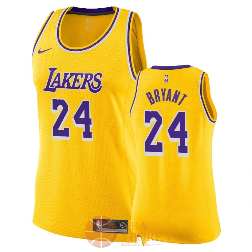 Classic Maillot NBA Femme Los Angeles Lakers NO.24 Kobe Bryant Jaune Icon 2018-19