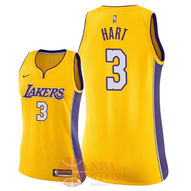 Classic Maillot NBA Femme Los Angeles Lakers NO.3 Josh Hart Jaune Icon 2018