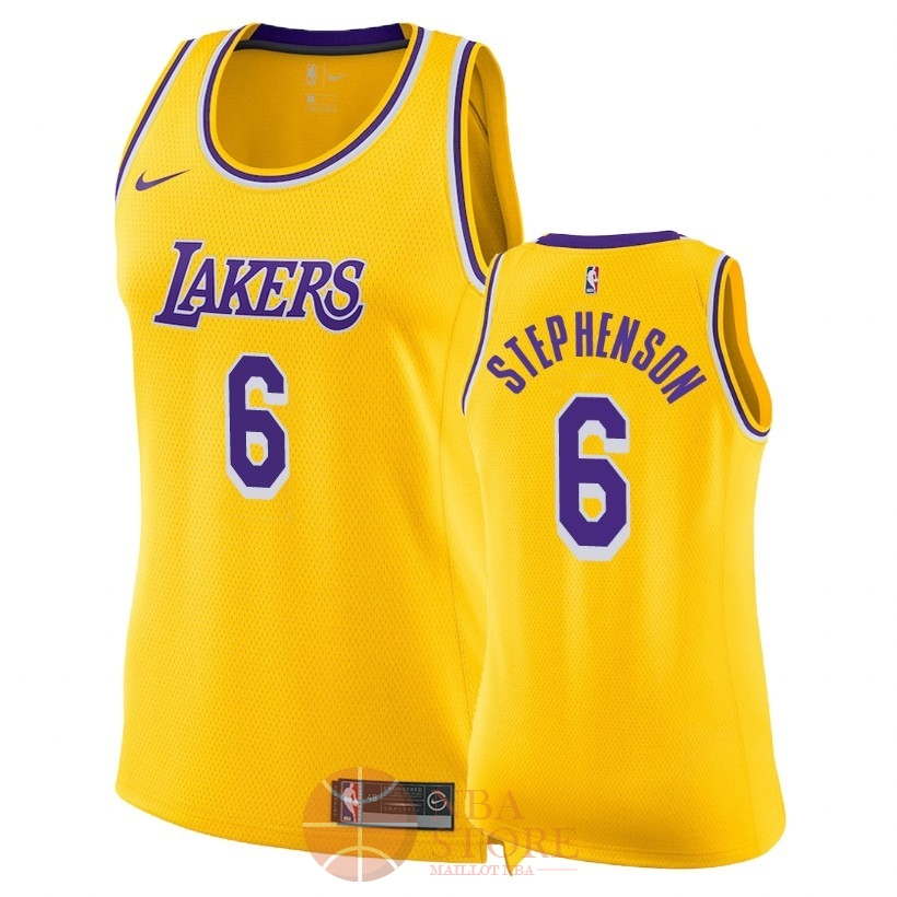 Classic Maillot NBA Femme Los Angeles Lakers NO.6 Lance Stephenson Jaune Icon 2018-19