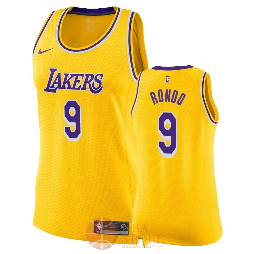 Classic Maillot NBA Femme Los Angeles Lakers NO.9 Rajon Rondo Jaune Icon 2018-19