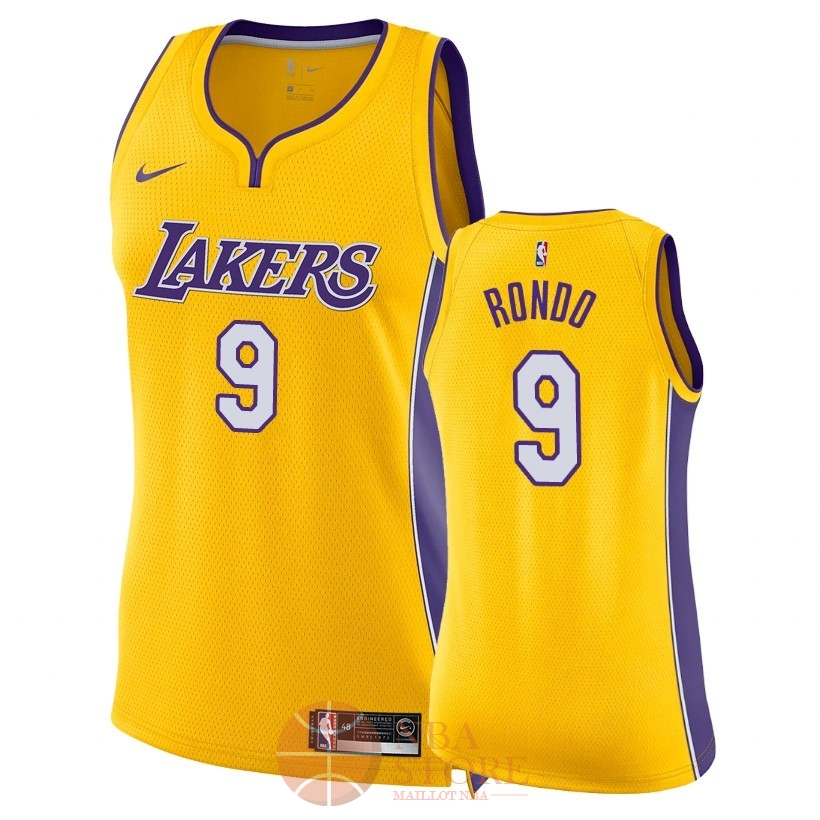 Classic Maillot NBA Femme Los Angeles Lakers NO.9 Rajon Rondo Jaune Icon 2018