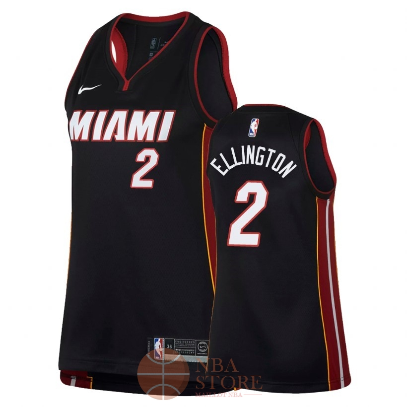Classic Maillot NBA Femme Miami Heat NO.2 Wayne Ellington Noir Icon 2018