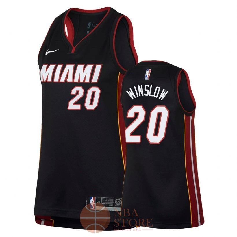 Classic Maillot NBA Femme Miami Heat NO.20 Justise Winslow Noir Icon 2018