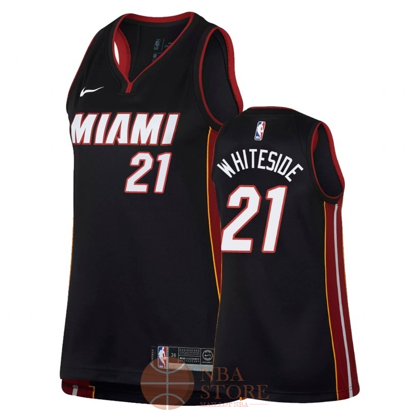 Classic Maillot NBA Femme Miami Heat NO.21 Hassan Whiteside Noir Icon 2018