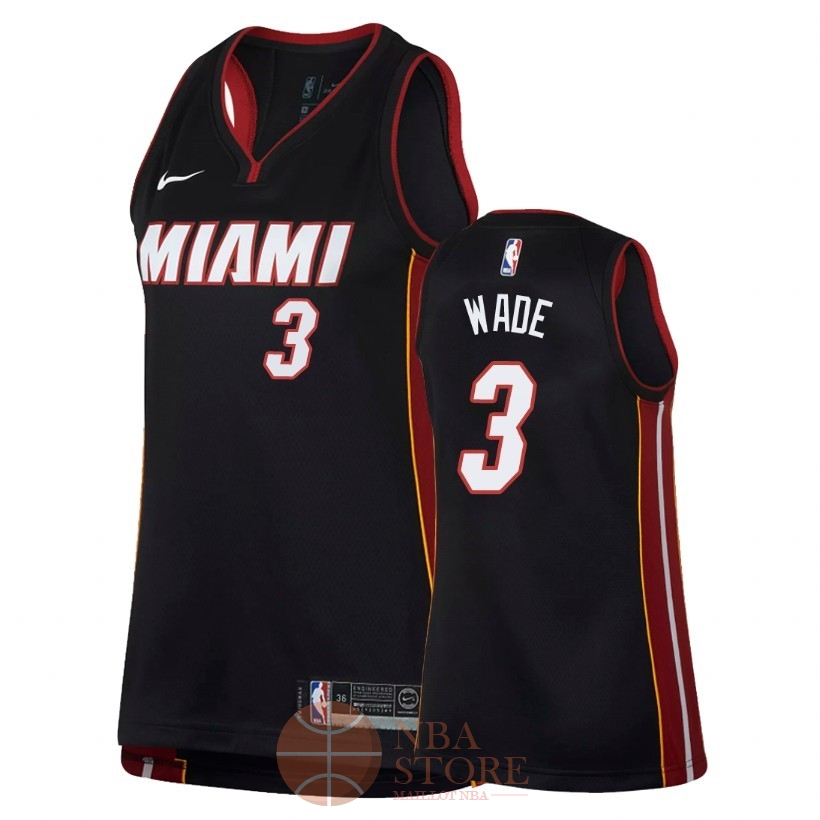 Classic Maillot NBA Femme Miami Heat NO.3 Dwyane Wade Noir Icon 2018