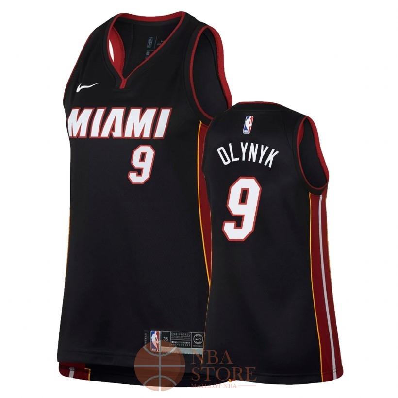 Classic Maillot NBA Femme Miami Heat NO.9 Kelly Olynyk Noir Icon 2018