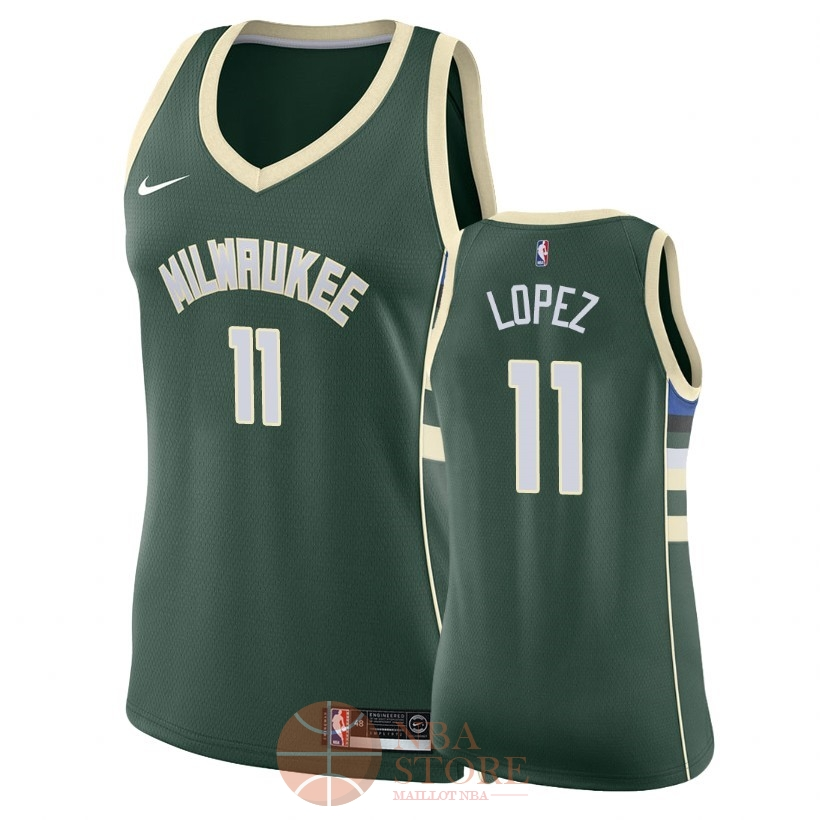 Classic Maillot NBA Femme Milwaukee Bucks NO.11 Brook Lopez Vert Icon 2018