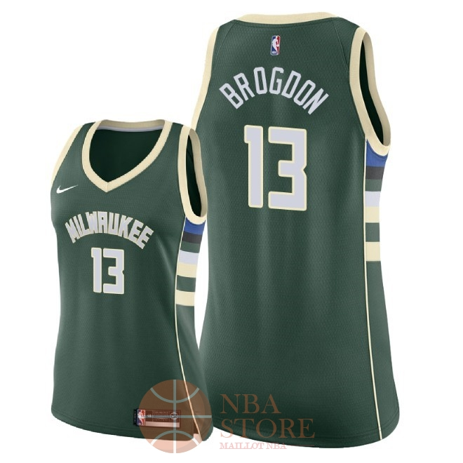 Classic Maillot NBA Femme Milwaukee Bucks NO.13 Malcolm Brogdon Vert Icon 2018
