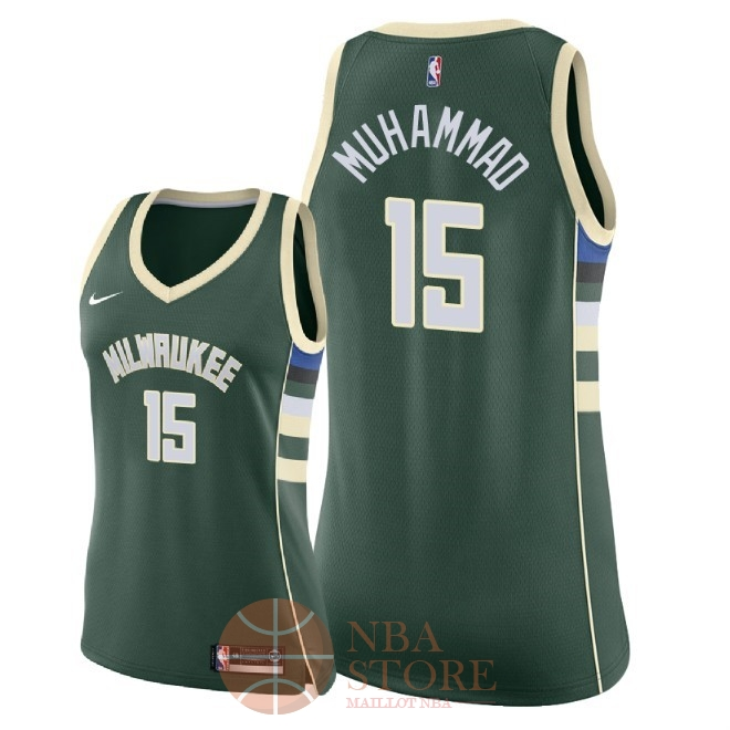 Classic Maillot NBA Femme Milwaukee Bucks NO.15 Shabazz Muhammad Vert Icon 2018