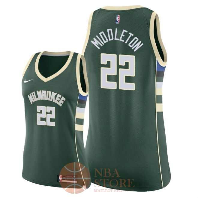 Classic Maillot NBA Femme Milwaukee Bucks NO.22 Khris Middleton Vert Icon 2018