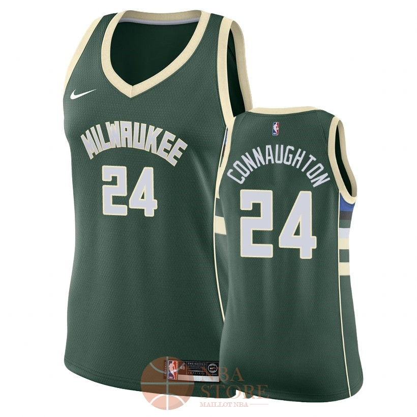 Classic Maillot NBA Femme Milwaukee Bucks NO.24 Pat Connaughton Vert Icon 2018