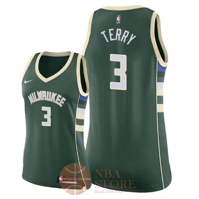 Classic Maillot NBA Femme Milwaukee Bucks NO.3 Jason Terry Vert Icon 2018