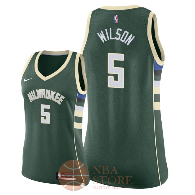 Classic Maillot NBA Femme Milwaukee Bucks NO.5 D.J. Wilson Vert Icon 2018