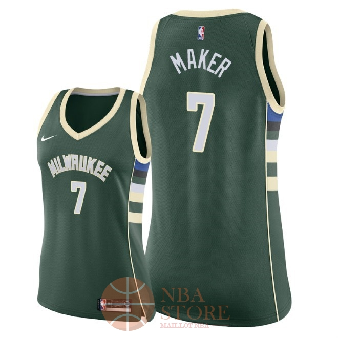 Classic Maillot NBA Femme Milwaukee Bucks NO.7 Thon Maker Vert Icon 2018