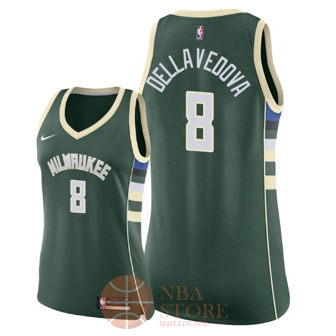 Classic Maillot NBA Femme Milwaukee Bucks NO.8 Matthew Dellavedova Vert Icon 2018