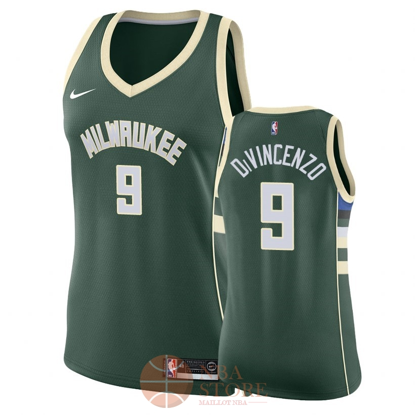 Classic Maillot NBA Femme Milwaukee Bucks NO.9 Donte DiVincenzo Vert Icon 2018