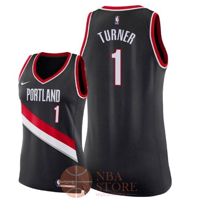 Classic Maillot NBA Femme Portland Trail Blazers NO.1 Evan Turner Noir Icon 2018