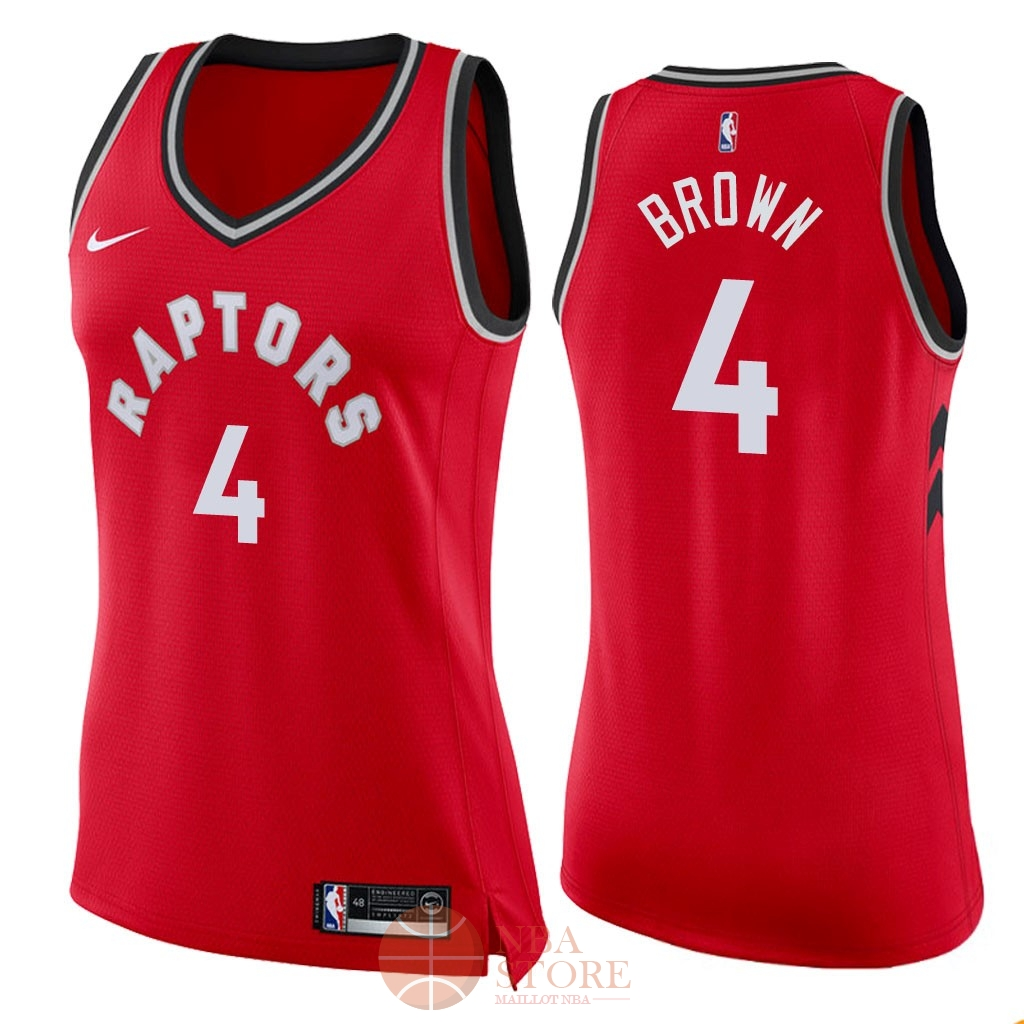 Classic Maillot NBA Femme Toronto Raptors NO.4 Lorenzo Brown Rouge Icon 2018