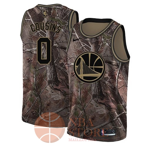Classic Maillot NBA Golden State Warriors NO.0 DeMarcus Cousins Camo Swingman Collection Realtree 2018