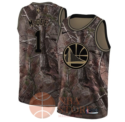 Classic Maillot NBA Golden State Warriors NO.1 JaVale McGee Camo Swingman Collection Realtree 2018