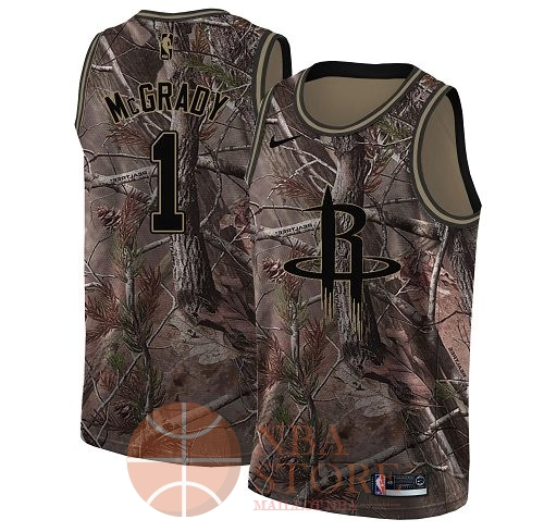 Classic Maillot NBA Houston Rockets NO.1 Tracy McGrady Camo Swingman Collection Realtree 2018