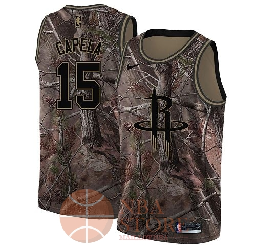 Classic Maillot NBA Houston Rockets NO.15 Clint Capela Camo Swingman Collection Realtree 2018