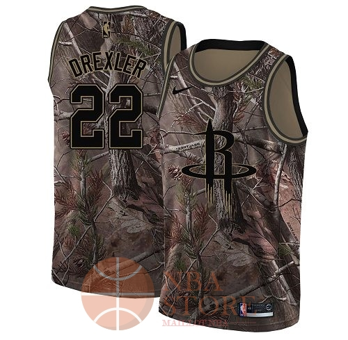 Classic Maillot NBA Houston Rockets NO.22 Clyde Drexler Camo Swingman Collection Realtree 2018