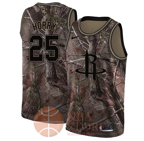 Classic Maillot NBA Houston Rockets NO.25 Robert Horry Camo Swingman Collection Realtree 2018