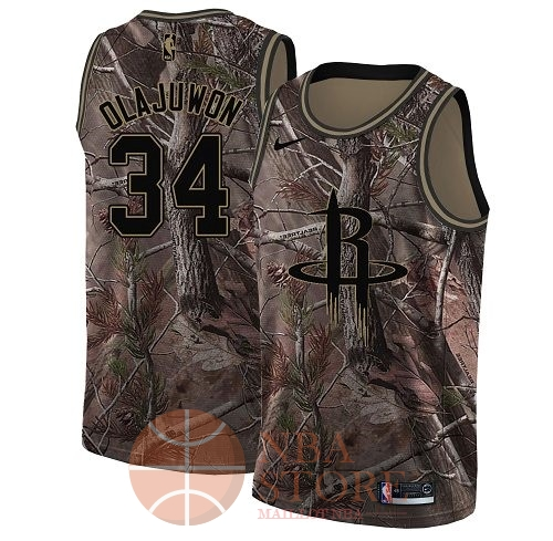 Classic Maillot NBA Houston Rockets NO.34 Hakeem Olajuwon Camo Swingman Collection Realtree 2018