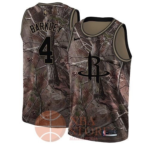 Classic Maillot NBA Houston Rockets NO.4 Charles Barkley Camo Swingman Collection Realtree 2018