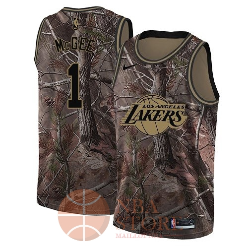 Classic Maillot NBA Los Angeles Lakers NO.1 JaVale McGee Camo Swingman Collection Realtree 2018