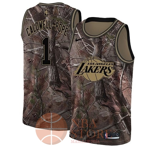 Classic Maillot NBA Los Angeles Lakers NO.1 Kentavious Caldwell Pope Camo Swingman Collection Realtree 2018