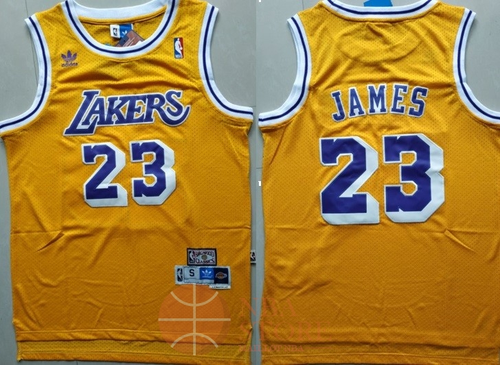 Classic Maillot NBA Los Angeles Lakers NO.23 Lebron James Retro Jaune