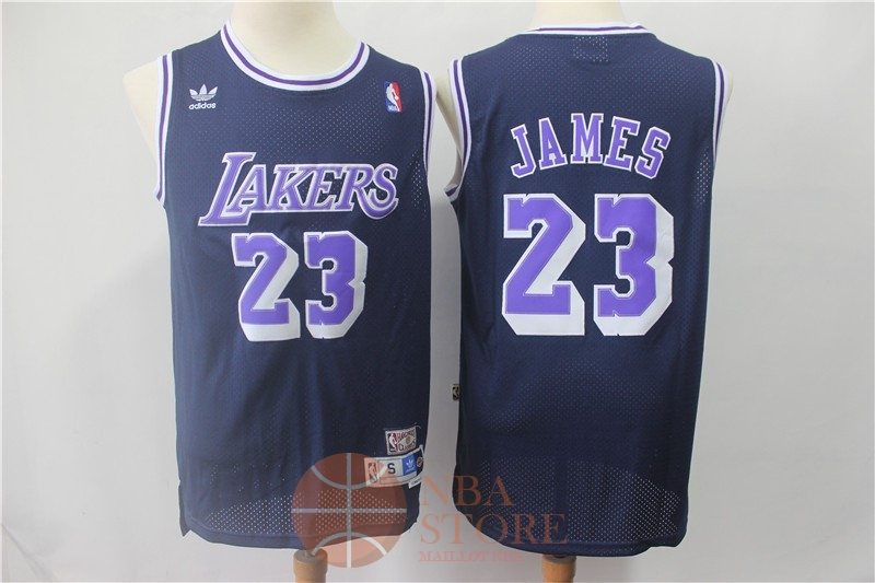 Classic Maillot NBA Los Angeles Lakers NO.23 Lebron James Retro Noir Pourpre